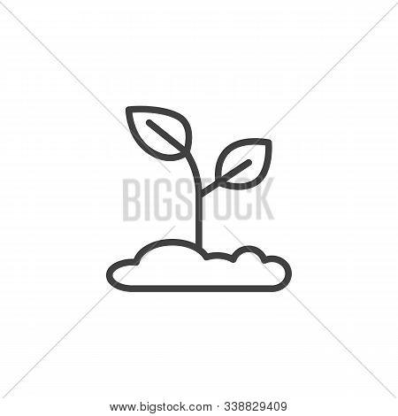 Plant In Soil Line Icon. Linear Style Sign For Mobile Concept And Web Design. Growing Plant Outline