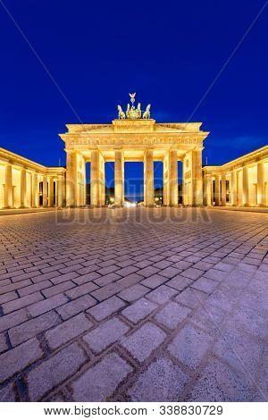 Brandenburg Gate in Berlin, Germany at twilight.