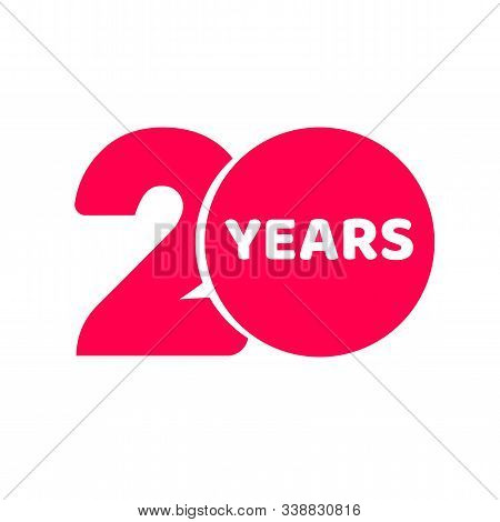 20 Years Anniversary Logo Template Isolated , Red Number 20 With Text Icon Label, Twenty Year Birthd