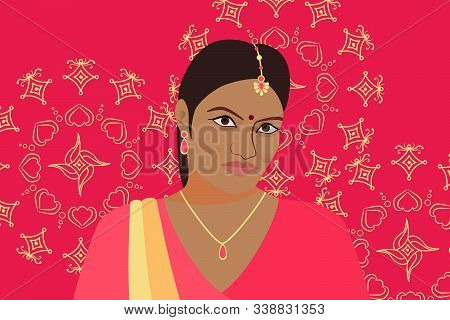 Beautiful Indian Woman On A Bright Pink Background With Rangoli. Abstract Female Image. India Girl I