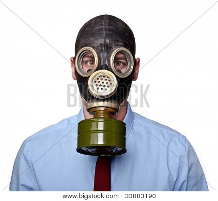 caucasian man with gas mask isolated on white background