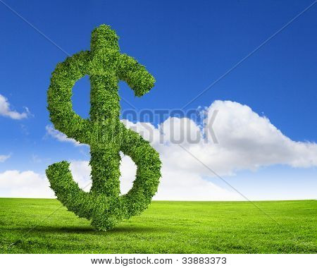 Green grass  US dollar symbol against blue sky