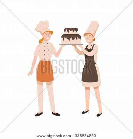Female Confectioners Flat Vector Illustration. Pasty Cookers Holding Two-tier Cake With Chocolate Fr