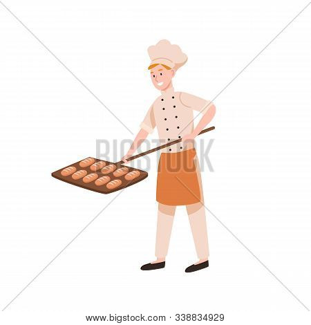 Smiling Male Baker Baking Bread Flat Vector Illustration. Happy Bakery Worker Putting Tasty Loaves I