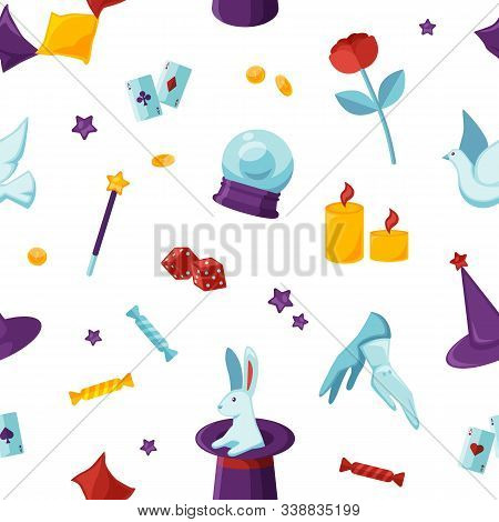 Magician Attributes Vector Seamless Pattern. Soothsayer And Conjurer Items, Magic Things Texture. Th