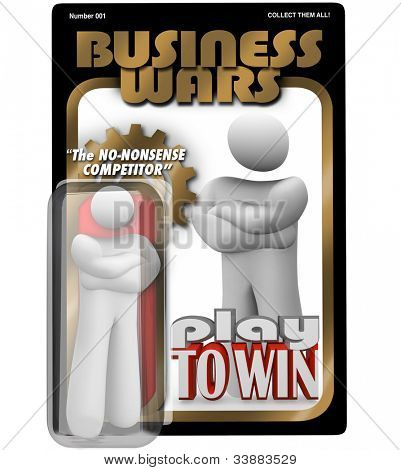 A dedicated worker, employee, manager or leader as an action figure in a package labeled Business Wars - The No-Nonsense Competitor, a dedicated and committed team player