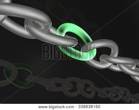 Grey Chain With Green Link, Black Background, 3d Illustration.