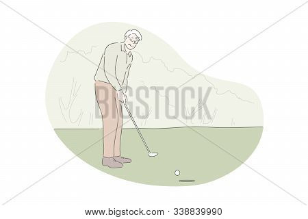 Playing Golf, Active Rest, Outdoor Activity Concept. Old Man On Golf Course Hitting Ball With Club.