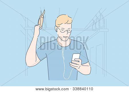 Commuting, Using Smartphone, Bus Passenger Concept. Male Commuter Surfing Web In Public Transport, U