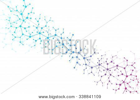 Scientific Molecule Background Dna Double Helix Vector Illustration With Shallow Depth Of Field. Mys
