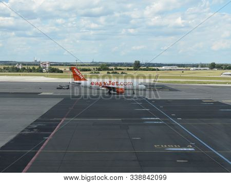 Prague, Czech Republic - Circa July 2016: Airbus A319 Of Easyjet Airlines On The Runway At Vaclav Ha