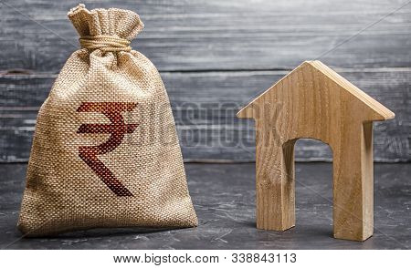 Indian Rupee Inr Symbol Money Bag And House. Real Estate Purchase And Investment. Affordable Loan, M