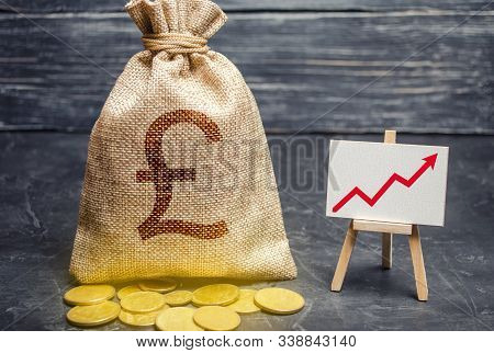 Pound Sterling Gbp Symbol Money Bag And Red Trend Arrow Up Chart. Deposit And Savings. Increasing Pr