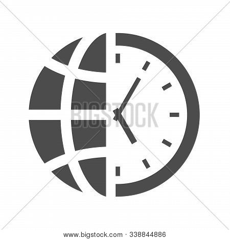 World Time Clock Vector Icon Isolated On White Background. World Time Clock With Half Globe Planet F