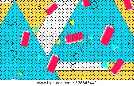 Creative 1980s Print. Baby Blue Grunge Texture. Red Animation Pattern. Summer Mustard Template. Blac