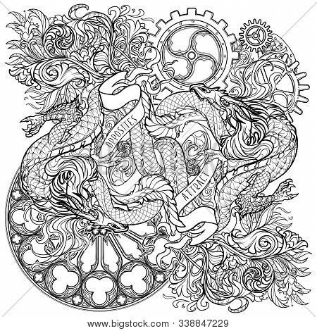 Two Dragons Fighting Each Other Illustrating Unity Of Opposites Principle. Plant And Gothic Flourish