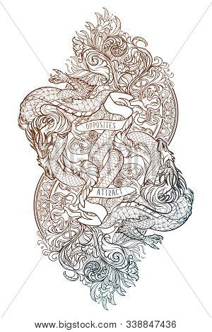 Two Dragons Fighting Each Other Illustrating Unity Of Opposites Principle. Concept Art Intricate Lin