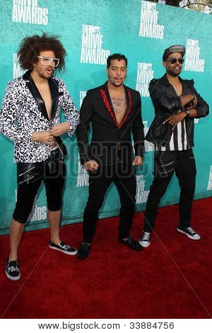 LOS ANGELES - JUN 3:  Red Foo; Sky Blu; Goonroc arriving at the 2012 MTV Movie Awards at Gibson Ampitheater on June 3, 2012 in Los Angeles, CA