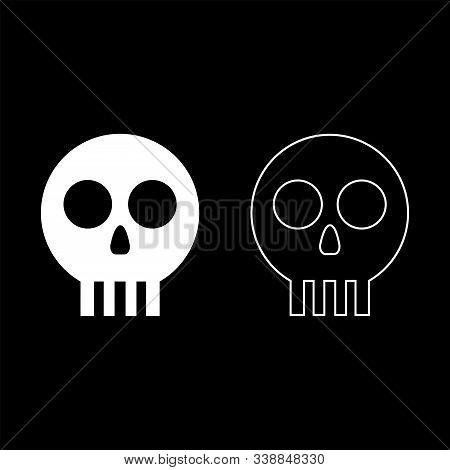 Human Skull Cranium Icon Outline Set White Color Vector Illustration Flat Style Simple Image