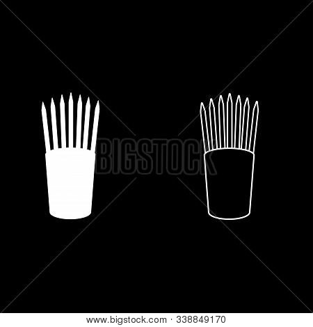 Pencils In Glass Stands Upright Office Supplier Concept Work Place Icon Outline Set White Color Vect