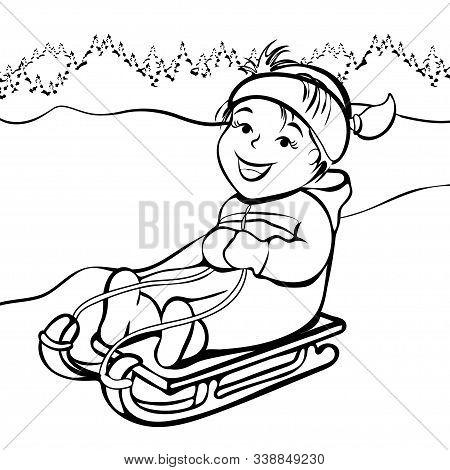 Girl Sledding, Cartoon Character, Black And White Outline Hand Drawing, Coloring, Winter Kids Fun. C