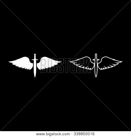 Wings And Sword Symbol Cadets Winged Blade Weapon Medieval Age Warrior Insignia Blazon Bravery Conce