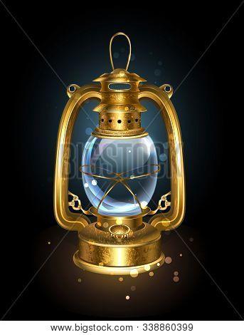 Antique, Kerosene Lantern From An Old, Patina Coated Brass On Black Background.
