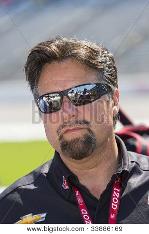 Ft WORTH, TX - JUN 08:  Michael Andretti watches qualifying for the Firestone 550 race at the Texas Motor Speedway in Fort Worth, TX on June 08, 2012.