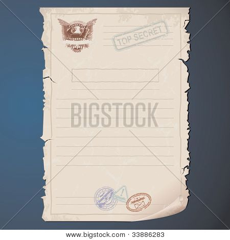 Blank Top Secret Document. Vector Template for your Text and Design