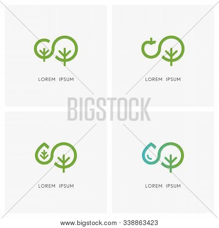 Nature Logo Set. Green Tree And Small Sapling, Apple, Leaf And Drop Of Water Symbol - Ecology And En