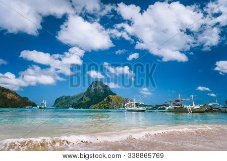 El Nido Bay With Boats On The Beach And Cadlao Island, Palawan, Philippines