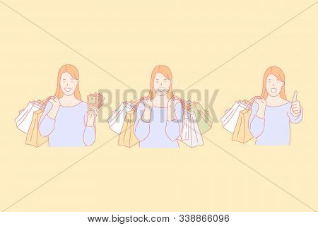 Shopping Time, Making Purchases, Buying Presents Concept. Happy Woman Spending Money In Boutique. Fe