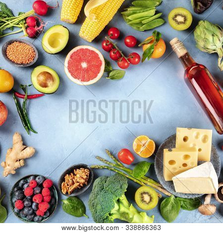 Food, Square Overhead Shot Of Vegetables And Fruits, Legumes, Wine And Cheese, Forming A Frame With