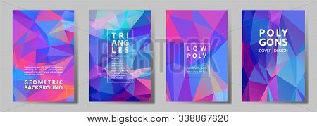 Facet Low Poly Bright Cover Page Layouts Vector Graphic Design Set. Crystal Texture Polygonal Patter