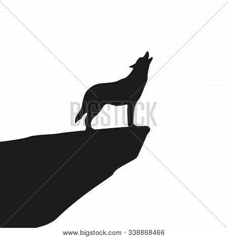 Howling Wolf Silhouette On White Background Vector Illustration Eps10