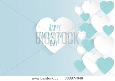 Valentine's Day Concept Background. Vector Illustration. White And Blue Paper Hearts On Pastel Blue