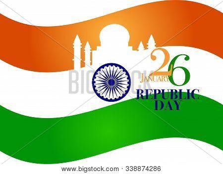 India Republic Day Celebration On January 26 , Indian National Day Vector Illustrator