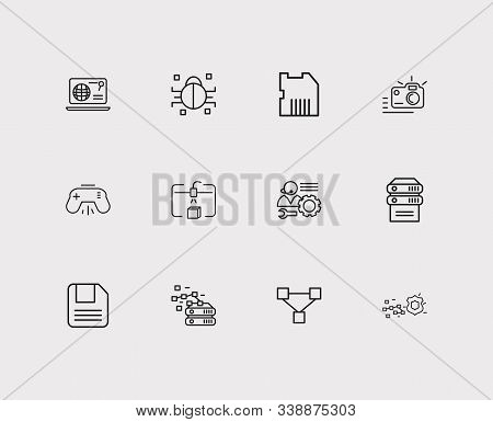 Electronics Icons Set. Steamroller And Electronics Icons With Sd Card, Server And Photo Camera. Set