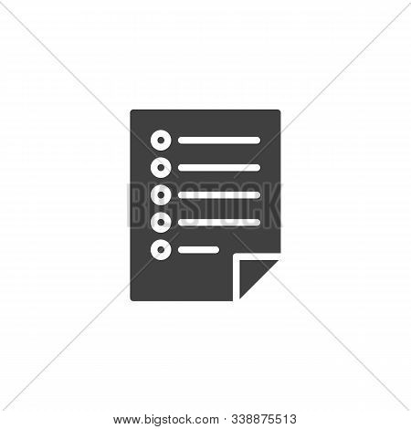 Questionnaire List Vector Icon. Filled Flat Sign For Mobile Concept And Web Design. Blank Checklist,