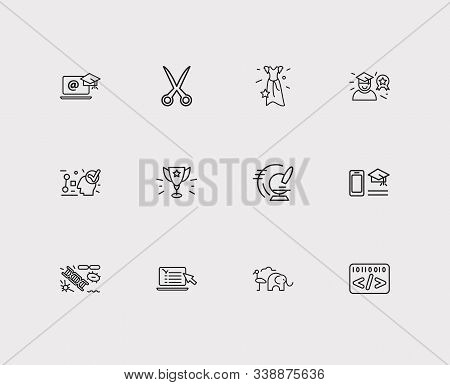 Elearning Icons Set. Biology And Elearning Icons With Distance Leaning, Scissors And Informatics. Se