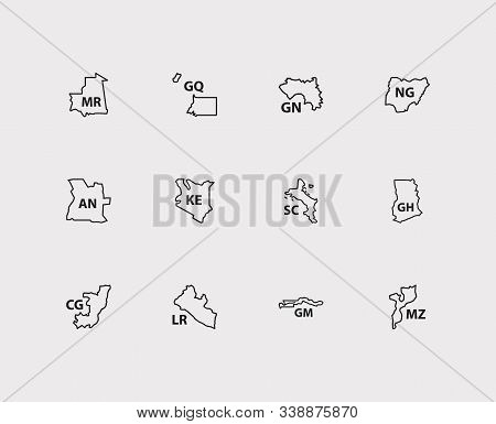 Cartography Icons Set. Angola And Cartography Icons With Liberia, Seychelles And Ghana. Set Of Place