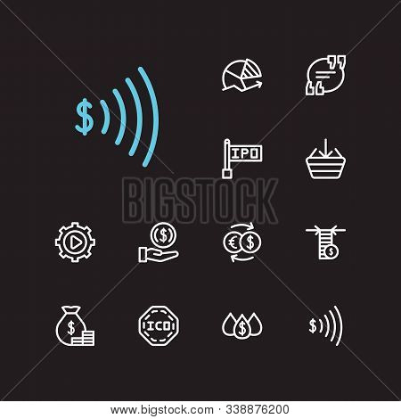 Finance Trading Icons Set. Invest Money And Finance Trading Icons With Going Long, Yield And Ipo. Se