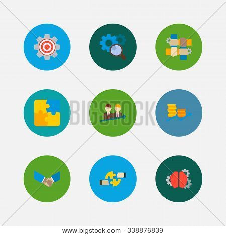Partnership Icons Set. Cooperation And Partnership Icons With Research, Handshake, Successful Partne