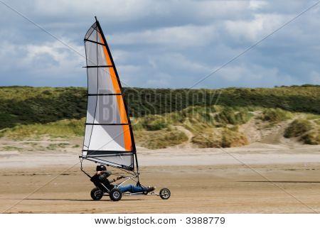 Land Sailing On The Beach