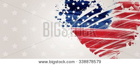 Banner With Usa Flag In Grunge Heart Shape