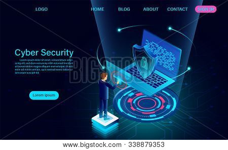Cyber Security Concept Banner. Protect Data And Confidentiality And Data Privacy Protection Concept