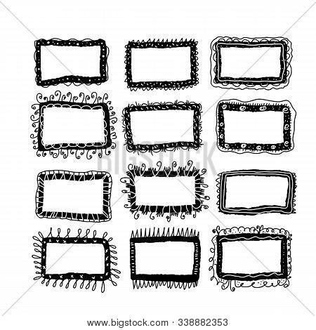 Set Of Frames. Bundle Of Hand Drawn Borders. Collection Of Decoration Elements For Collage. Vector I