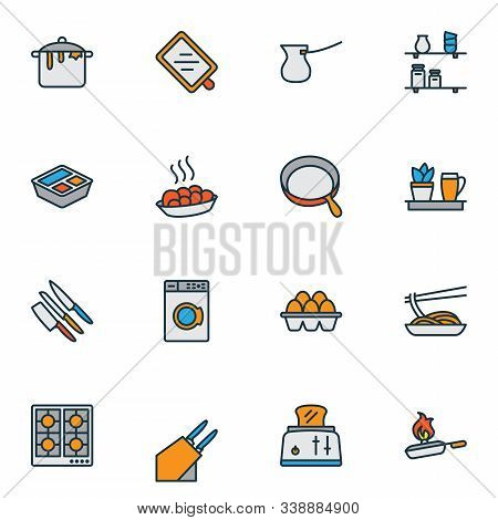 Cook Icons Colored Line Set With Toaster, Dirty Pot, Skillet And Other Ibrik Elements. Isolated Vect