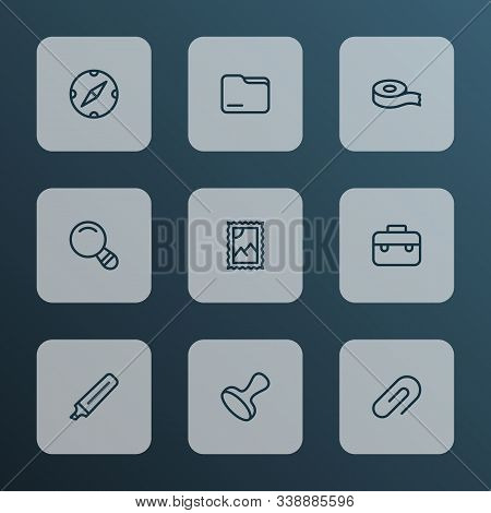 Stationary Icons Line Style Set With Magnifier, Compass, Post Stamp And Other Certified Elements. Is