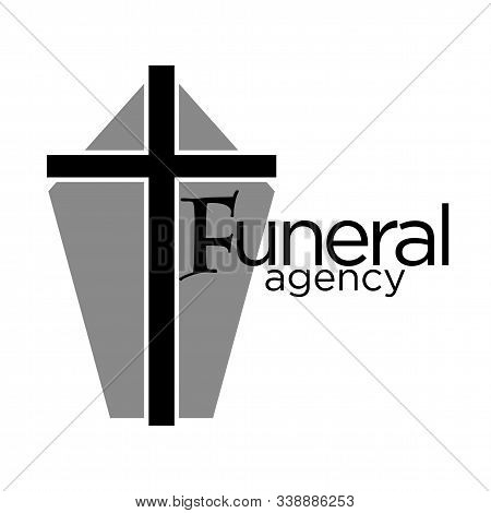 Funeral Agency Logo With Grey Coffin Casket And Cross